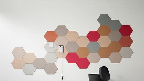 Photo of Krommenie bulletin board material cut to hexagons