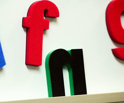 Close up of Fun Figures letter f & n