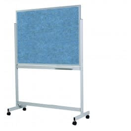 Photo of a double sided pinboard on a fixed frame mobile stand