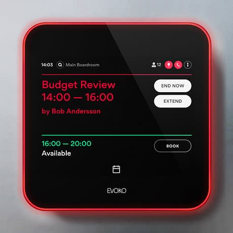 The red halo on the Evoko Liso advises you that the room is currently busy.
