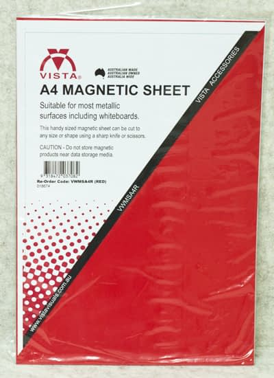 image of Vista Magnetic Sheet A4 Red in packaging