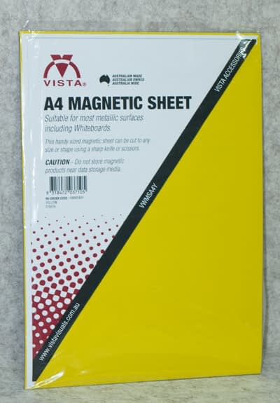 Image of Vista Magnetic Sheet A4 Yellow in packaging