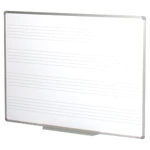 Wall mounted porcelain whiteboard with music staves