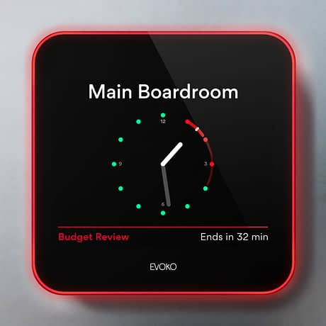 Your Evoko Liso telling you you meeting booking ends in 32 minutes