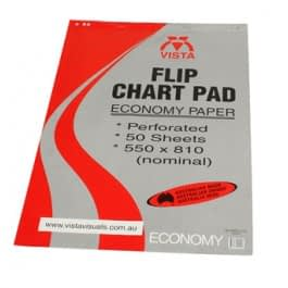Vista flipchart pad has innovative multi-hole header to suit most flipchart stands.