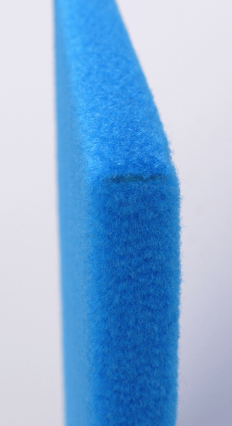 Short edge view of Vista wrapped velour pinboard