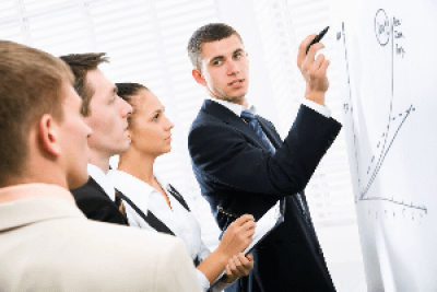 Image of office staff using a Vista white board