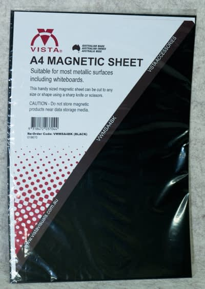 photo of Vista Magnetic Sheet A4 Black in packaging