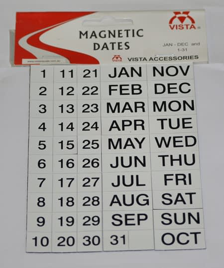 Photo of Vista Magnetic Days Dates Months pack