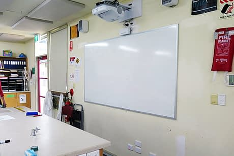 Photo of an Epson Projector in a classroom