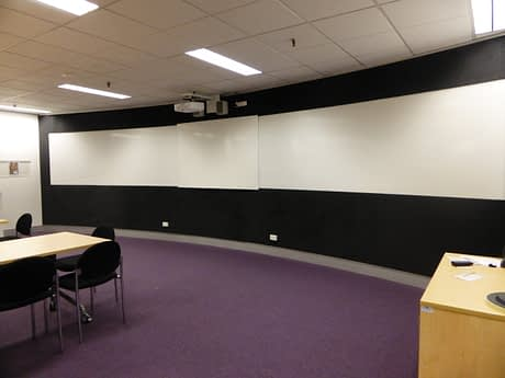 picture of a collection of Vista projection whiteboards in a classroom