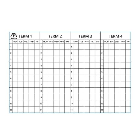Image of the printed surface of a Vista 4 term planner type 2