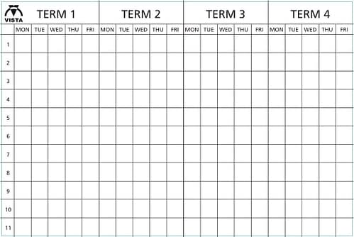 Layout of Vista four term planner type 1