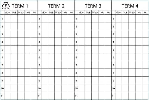layout of Vista four term planner type 2